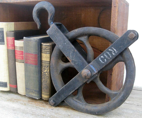 Large Cast Iron Pulley - Vintage Industrial Decor