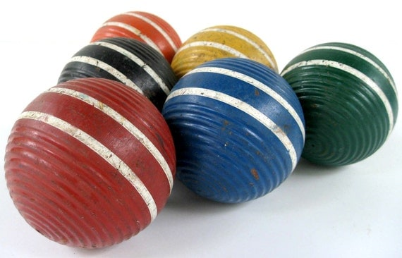 Vintage Wood Croquet Balls - Set of 6
