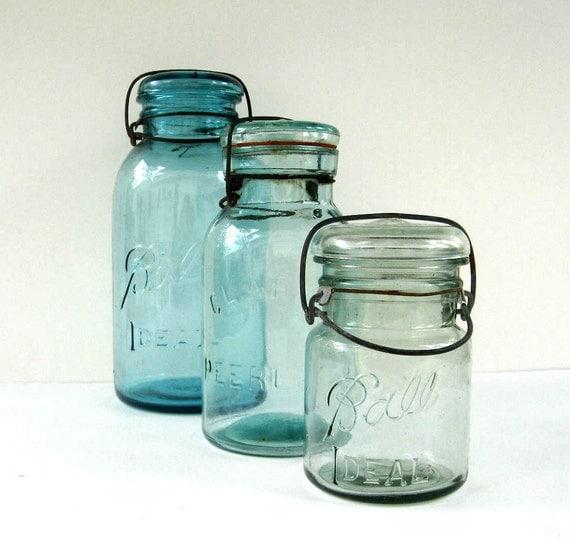 Antique Blue Mason Jars With Glass Lids By Splendidjunkvintage