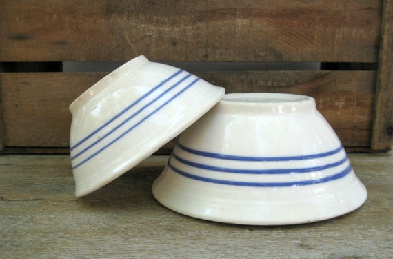 Pair of White Ironstone Nesting Bowls with Blue Stripes - Farmhouse - French Country Style