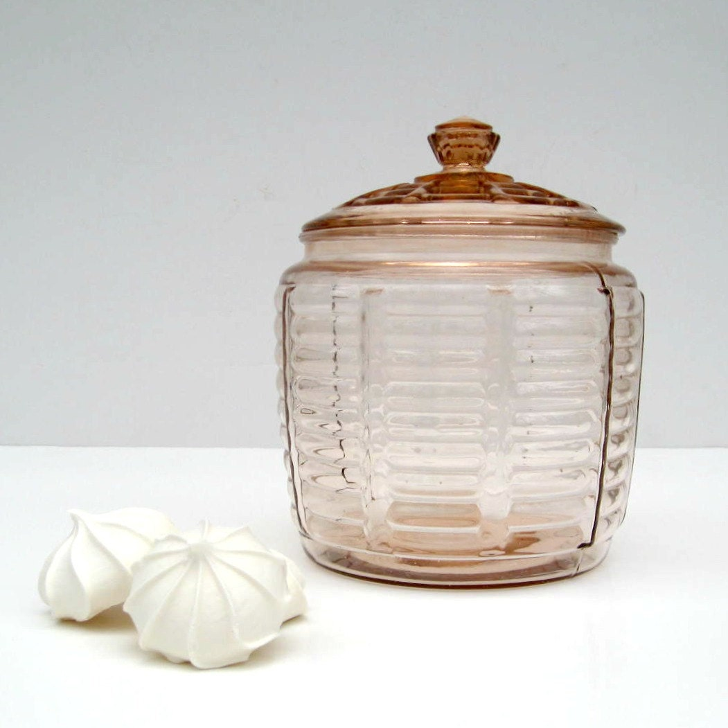 Sale Pink Depression Glass Cookie Jar With Lid Ribbed