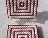 Crimson and Cream X's-Set of 4 Coasters