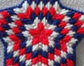 Starburst Ornament-Red, White, Blue-Patriotic, Plastic Canvas Star
