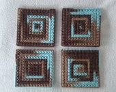 Surf and Turf Square Coasters-Set of 4