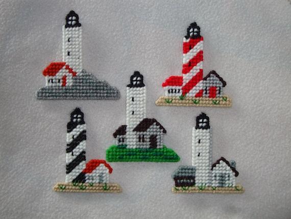 Lighthouses-Set of 5 Magnets, Decorations, Favors, Ornamnets