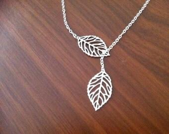 Silver Leaf Lariat Necklace