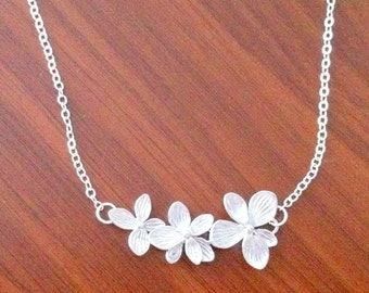 Triple Orchid Flower Necklace - Silver - Gift
