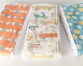 FREE SHIPPING Baby Burp Cloths - Set of 3 - Monaluna Circa 52- Birch 100% Organic Cotton Fabric