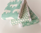 Baby Burp Cloths - Set of 3 - Mod Basics in Pool from Birch 100% Organic Fabric