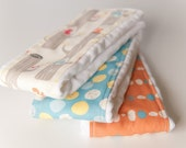 Organic Baby Burp Cloths - Set of 3 - Woodland Friends in Natural from Birch 100% Organic Fabric