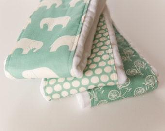 Baby Burp Cloths - Set of 3 - Mod Basics in Pool from Birch 100% Organic Fabric