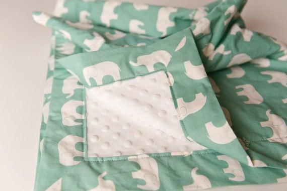 Organic Baby Blanket - Ellie Fam in Pool from Mod Basics Birch 100% Organic Fabric with Ivory Minky Dot (30 X 32)