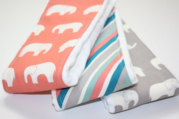 SALE - Baby Burp Cloths - Set of 3 - Mod Basics Ellie Fam in Coral and Shroom from Birch 100% Organic Cotton