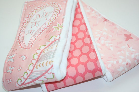 Baby Burp Cloths - Set of 3 - Bella Butterfly Collection for Michael Miller - LAST ONE