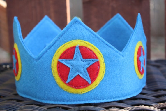 Traditional Blue Felt Crown With Stars
