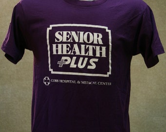 Vintage 80s SCREEN STARS Senior Health Plus T Shirt Medium