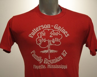 Vintage 80s MISSISSIPPI TREE Family Reunion T Shirt Medium