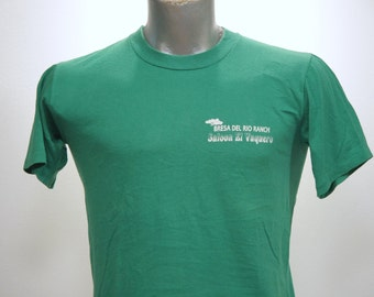 Vintage 80s Jerzees BAR SALOON Green T Shirt Medium