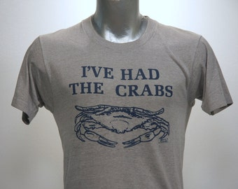 Vintage 80s THE CRAB SHACK Gray Screen Stars T Shirt Large