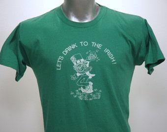 Vintage 80s Drinking Drunk IRISH Green T Shirt XL