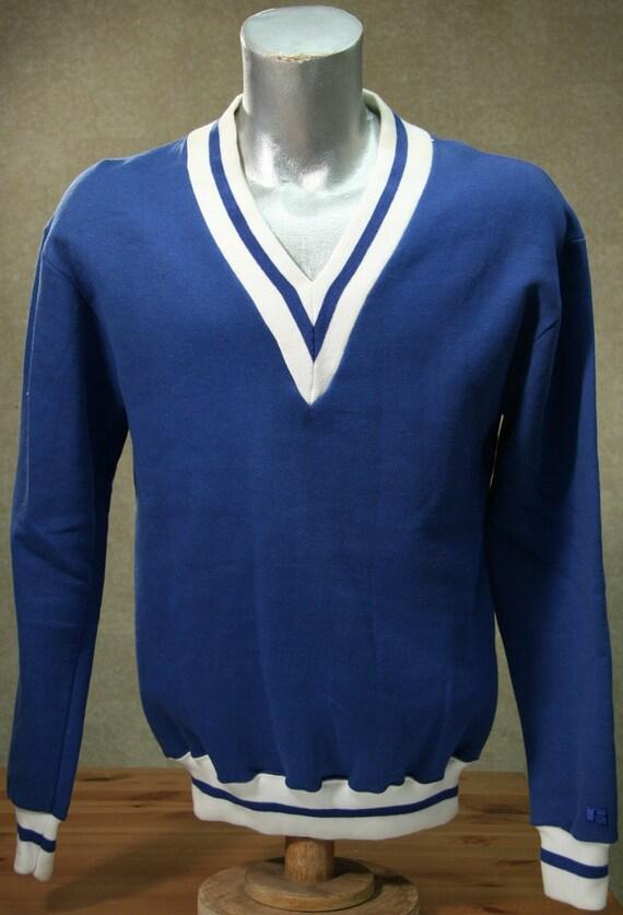 Vintage 80s DEADSTOCK RUSSELL V Neck Sweatshirt Medium