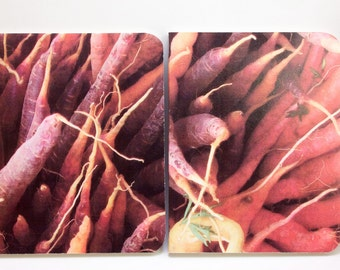 Set of Little Sketchbooks with Original Photograph Cover - Multicolored Organic Carrots