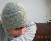 Hand Knit Hat - Cozy Knitted Bluish Cap
