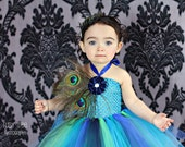 Peacock Tutu Dress, Baby Tutu Dress, Peacock Tutu, 12 18 24 Months, Front Feathers, Satin Flower
