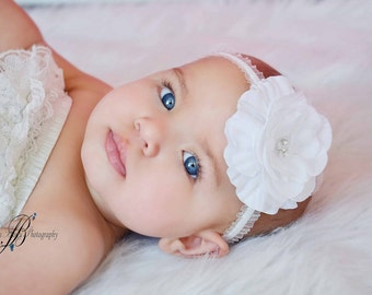 White Headband, Baby Bow, Rhinestone Flower, Ruffled Elastic, All Sizes, Ready To Ship