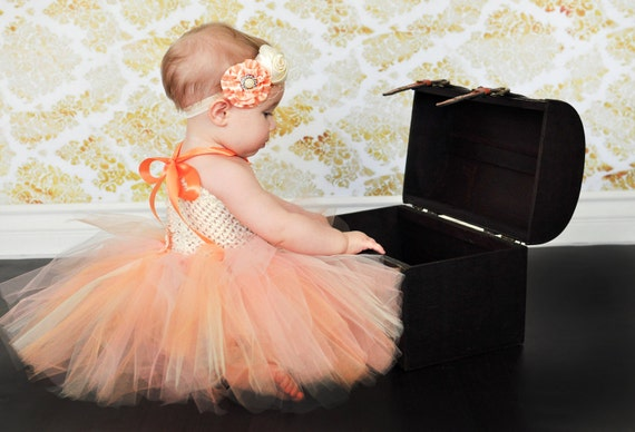 Tutu Dress Baby Girls Peach Ivory Many Sizes You Choose