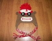4-12 Year Sock Monkey Hat - Photo Prop