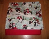 APRON or TOTE Bag - Your choice- Christmas Penguins- Made to Order