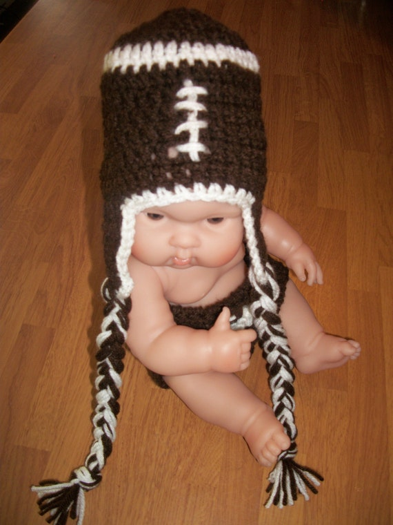 0-3 Month Football Hat with Earflaps - Photo Prop
