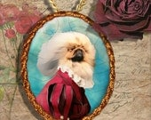Pekingese Jewelry Brooch Handcrafted Ceramic PENDANT OPTINAL by Nobility Dogs