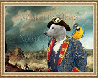 White Canaan Dog Art Print Pirate shipwreck dog lover gift canaan dog painting dog Pirate costume dogs in clothes art custom dog portrait