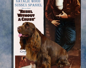 Sussex Spaniel Vintage Movie Style Poster Canvas Print  - Rebel Without a Cause NEW COLLECTION by Nobility Dogs