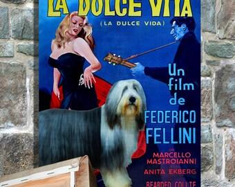 Bearded Collie Art - CANVAS  Print - Fine Artwork - Dog Portrait -  Dog Painting - Dog Art - Dog Print - La Dolce Vita Movie Poster