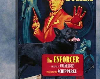 Schipperke Vintage Movie Style Poster Canvas Print  NEW Collection by Nobility Dogs