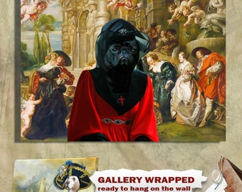 Pug Art CANVAS Print Fine Artwork of Nobility Dogs Dog Portrait Dog Painting Dog Art Dog Print