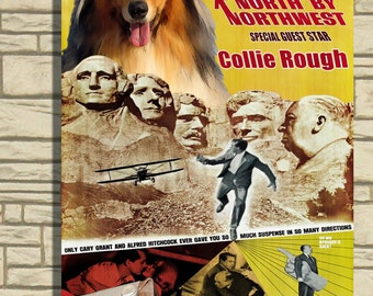 Collie Rough Vintage Movie Style Poster Canvas Print  NEW Collection by Nobility Dogs