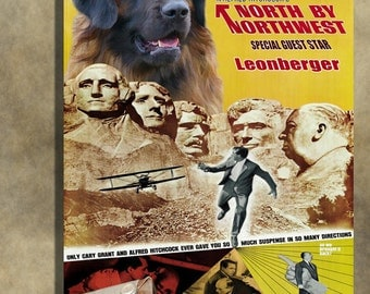 North By Northwest Leonberger Movie Art Poster Dog Painting Alfred Hitchcock Poster Custom Dog Portrait from Photo 1950s Movie Poster