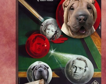 Shar Pei Vintage Art Poster Canvas Print  - The Hustler Movie Poster  Perfect DOG LOVER GIFT Gift for Her Gift for Him Home Decor