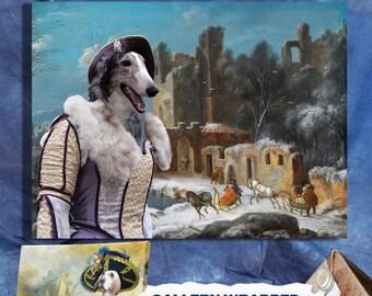 Borzoi  - Russian Wolfhound ART Print/Borzoi Portrait/CANVAS Print/Dog Painting/Dog Art Print/Custom Dog Art - Portrait By Nobility Dogs