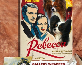 Papillon Print Fine Art Canvas - Rebecca Movie Poster NEW COLLECTION by Nobility Dogs