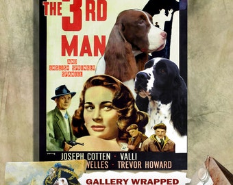 English Springer Spaniel Print Fine Art Canvas - The Third Man Movie Poster NEW COLLECTION by Nobility Dogs