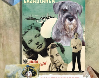 Schnauzer Vintage Art Poster Canvas Print  - Casablanca Movie Poster NEW Collection by Nobility Dogs