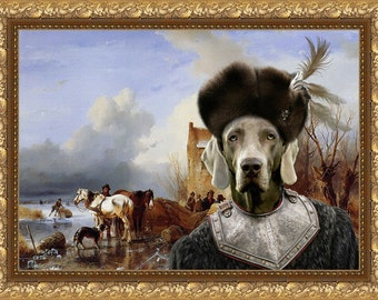 Weimaraner Art CANVAS Print Fine Artwork of Nobility Dogs Dog Portrait Dog Painting Dog Art Dog Print