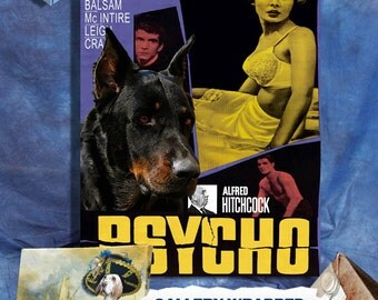 Beauceron Art - CANVAS  Print - Fine Artwork - Dog Portrait -  Dog Painting - Dog Art - Dog Print - Psycho Movie Poster