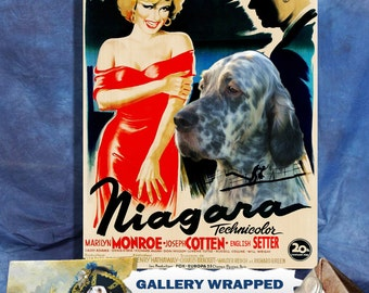 English Setter Vintage Movie Style Poster Canvas Print  - Niagara NEW Collection by Nobility Dogs