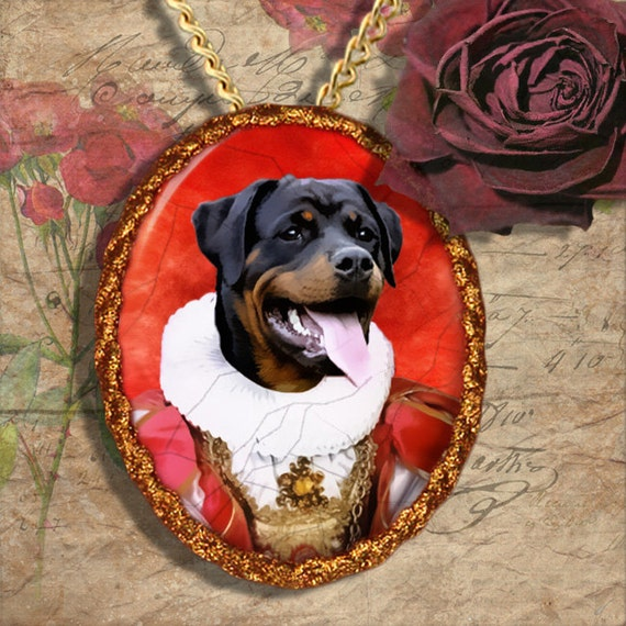 Rottweiler Jewelry Brooch Handcrafted Ceramic by Nobility Dogs